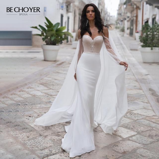 BECHOYER zarif boncuklu saten düğün elbisesi sevgiliye uzun kollu Mermaid 2 In 1 mahkemesi tren gelin kıyafeti Vestido de Noiva N170