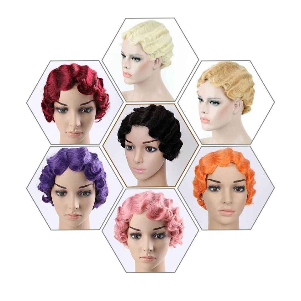 Houyan Korte Krullend Straight Zwart Bruin Roze Rood Blonde Bob Vinger Wave Afro-amerikaanse Vrouwen Synthetisch Haar Pruik Cosplay