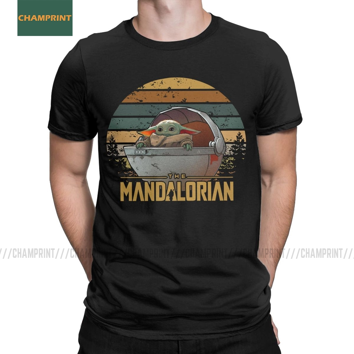 Men T-Shirts Baby Yoda The Mandalorian T Shirt Funny Cotton Tee Shirt Short Sleeve Star Wars Seagulls Jedi Fett Crewneck Clothes
