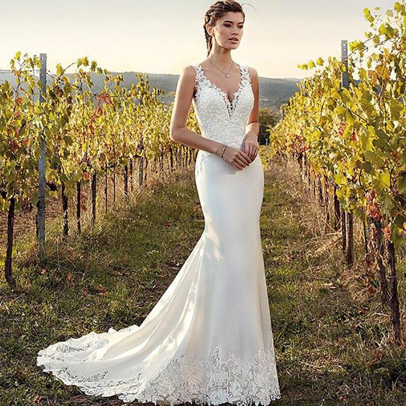 Elegant Illusion Back Mermaid Wedding Dress 2019 V Neck Appliqued Lace Train Turkey Boho Bridal Gown Trumpet Dresses Bride