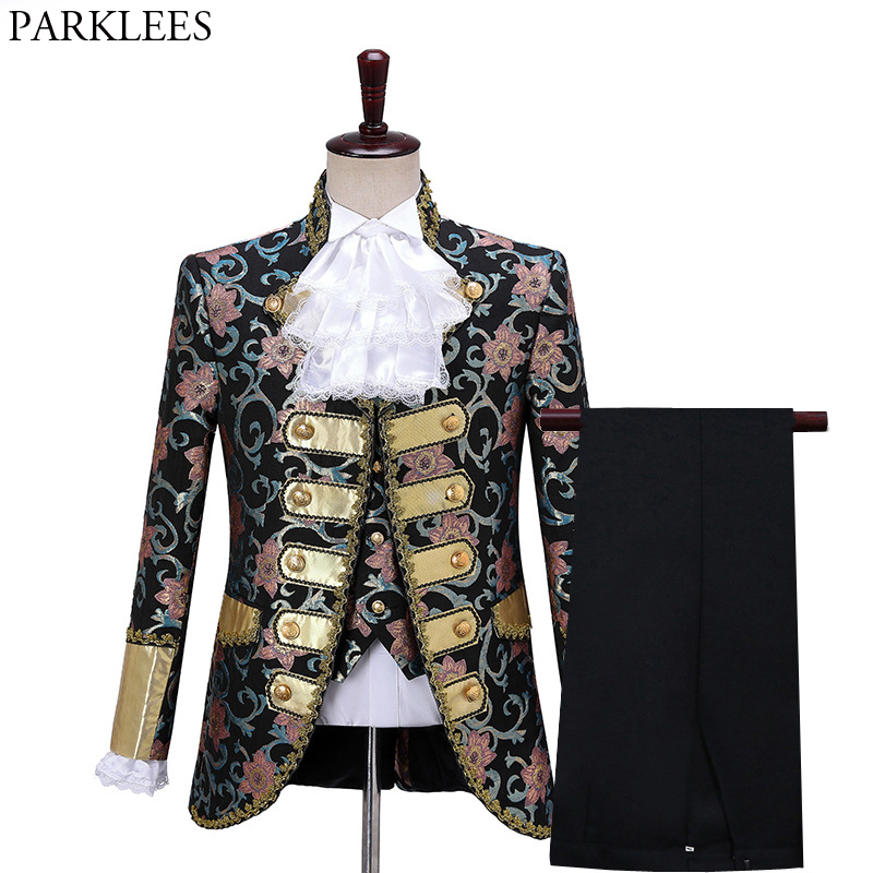 Men Fashion Five-piece Court Suit Set Gothic Style Palace Floral Suits with Pants Mens Chorus Drama Outfit Stage Prom Costume XL