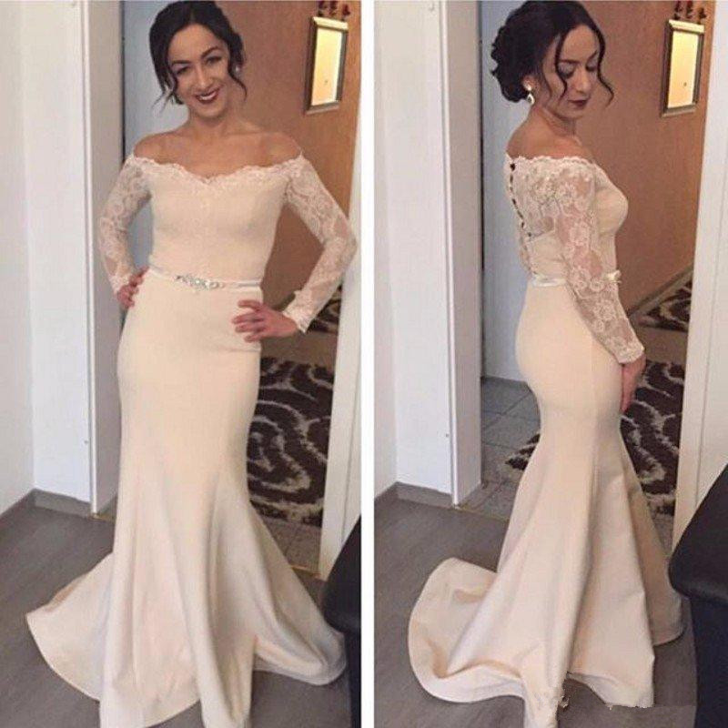 Mermaid Champagne Mother Of The Bride Dresses 2019 Long Sleeve Off The Shoulder Lace Beaded Belt Women Formal Gowns Custom Made