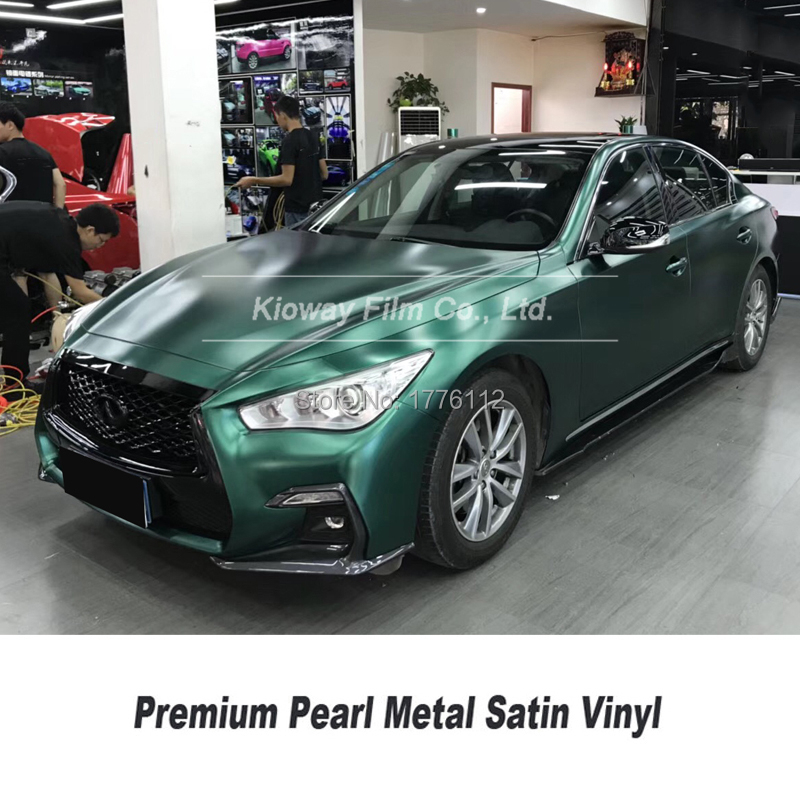 Highest quality pearl metal Vinyl wrap car wrapping emerald green vinyl rap covering foil bubble free quality Warranty(China)