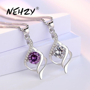 NEHZY 925 sterling silver new ladies fashion jewelry high quality purple crystal zircon pendant necklace length 45CM