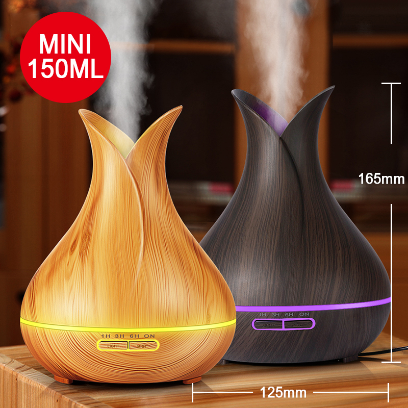 KBAYBO 150ml Aroma Essential Oil Diffuser Ultrasonic Air Humidifier With Wood Grain Electric LED Lights Aroma Diffuser For Home