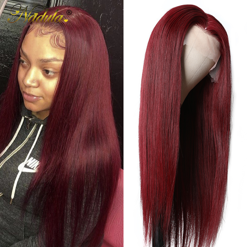 Nadula Hair #99J Burgundy Lace Front Wigs 13X4 Straight Lace Front  Wigs Pre-Plucked Red Burgundy Lace Front Wigs 1