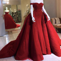 Real Image Wine Red Lace Beaded Mermaid Evening Gowns 2019 With Detachable Train Vintage Long Prom Gowns Off The Shoulder