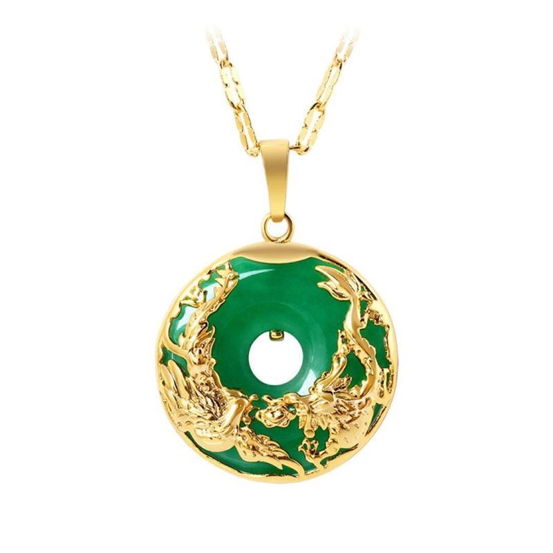 14K Gold Necklace Emerald Pendants For Female Luxury Colgante De 925 Mujer Green Jade Emerald Pendant Topaz Gemstone Necklaces
