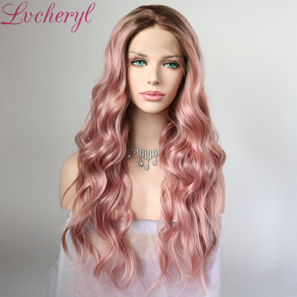 Lvcheryl Ombre Brown Roots to Light Purple Natural Long Wavy Synthetic Front Lace Wigs Heat Resistant Hair Wigs for Women