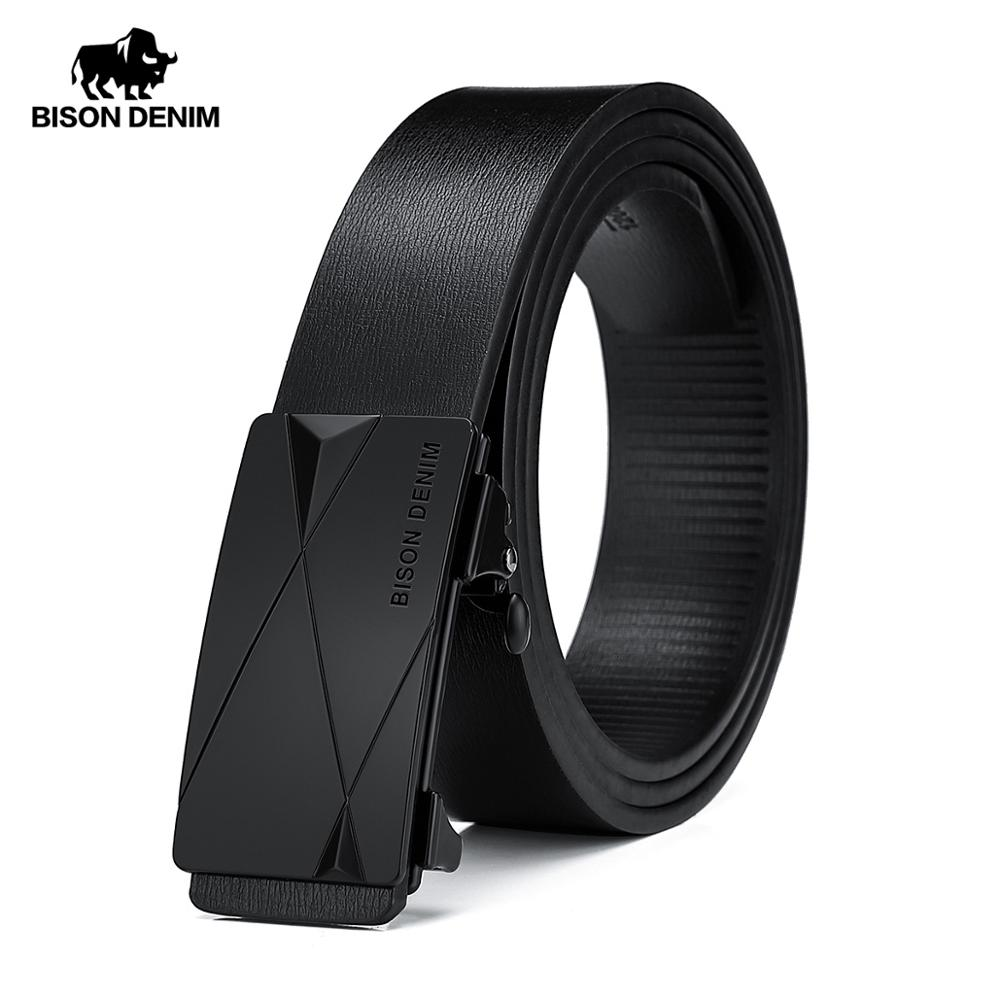 BISON DENIM Belt for Men Geuine Leather Alloy Automatic Buckle Fashion Brand Classic Luxury Business Cow Leather Men Belt N71578