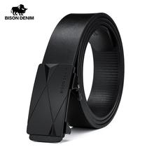 BISON DENIM Belt for Men Geuine Leather Alloy Automatic Buckle Fashion Brand Classic Luxury Business Cow N71578