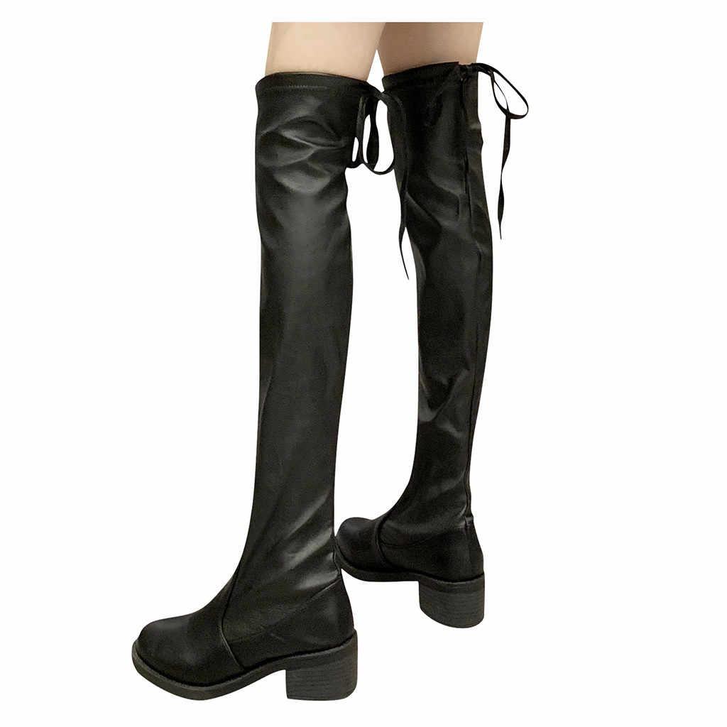 2018 Slim รองเท้าเซ็กซี่กว่าเข่ารองเท้าบู๊ทหิมะผู้หญิงแฟชั่นฤดูหนาวต้นขาสูงหนารองเท้ารองเท้าผู้หญิง Botas Mujer
