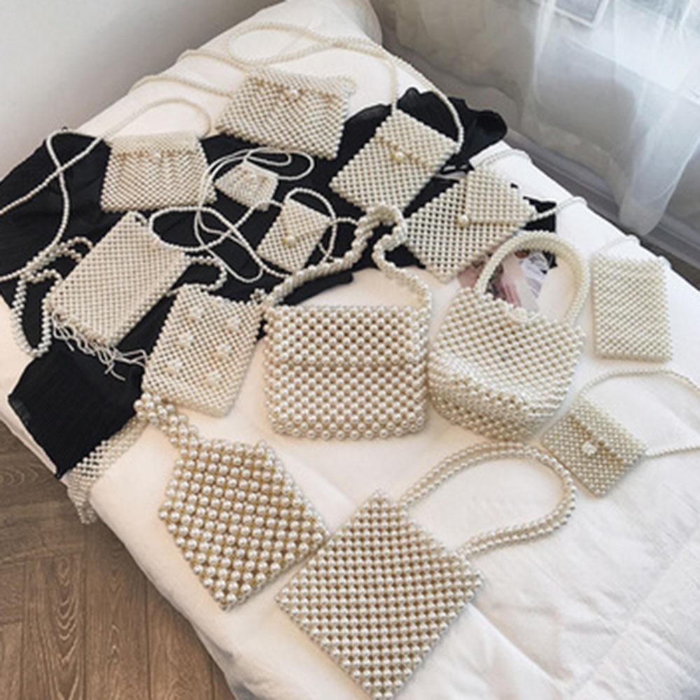 Handmade Pearl Bags Women Handbags Shoulder Bag Elegant Beaded Messenger Bags Mini Phone Purse New Arrival