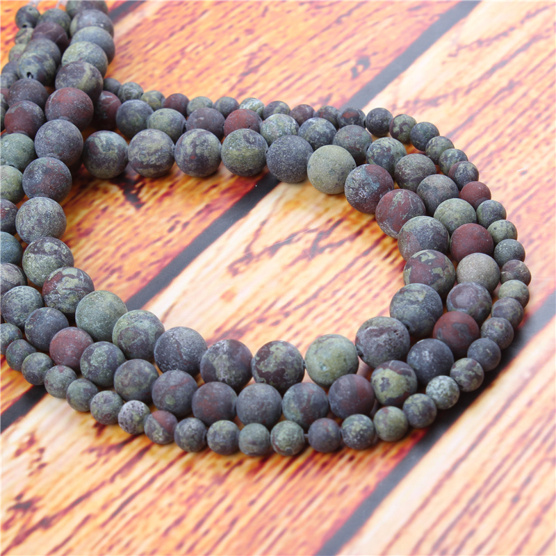 Dracaena Natural Stone Bead Round Loose Spaced Beads 15 Inch Strand 4/6/8/10/12mm For Jewelry Making DIY Bracelet