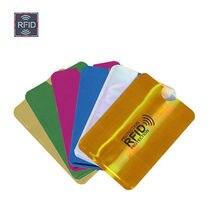 Nuevo Anti Rfid tarjetero para tarjetas bancarias de NFC de bloqueo lector Identificación de bloqueo de Bolsa de tarjeta de crédito de las mujeres de los hombres láser aluminio tarjeta caso proteger