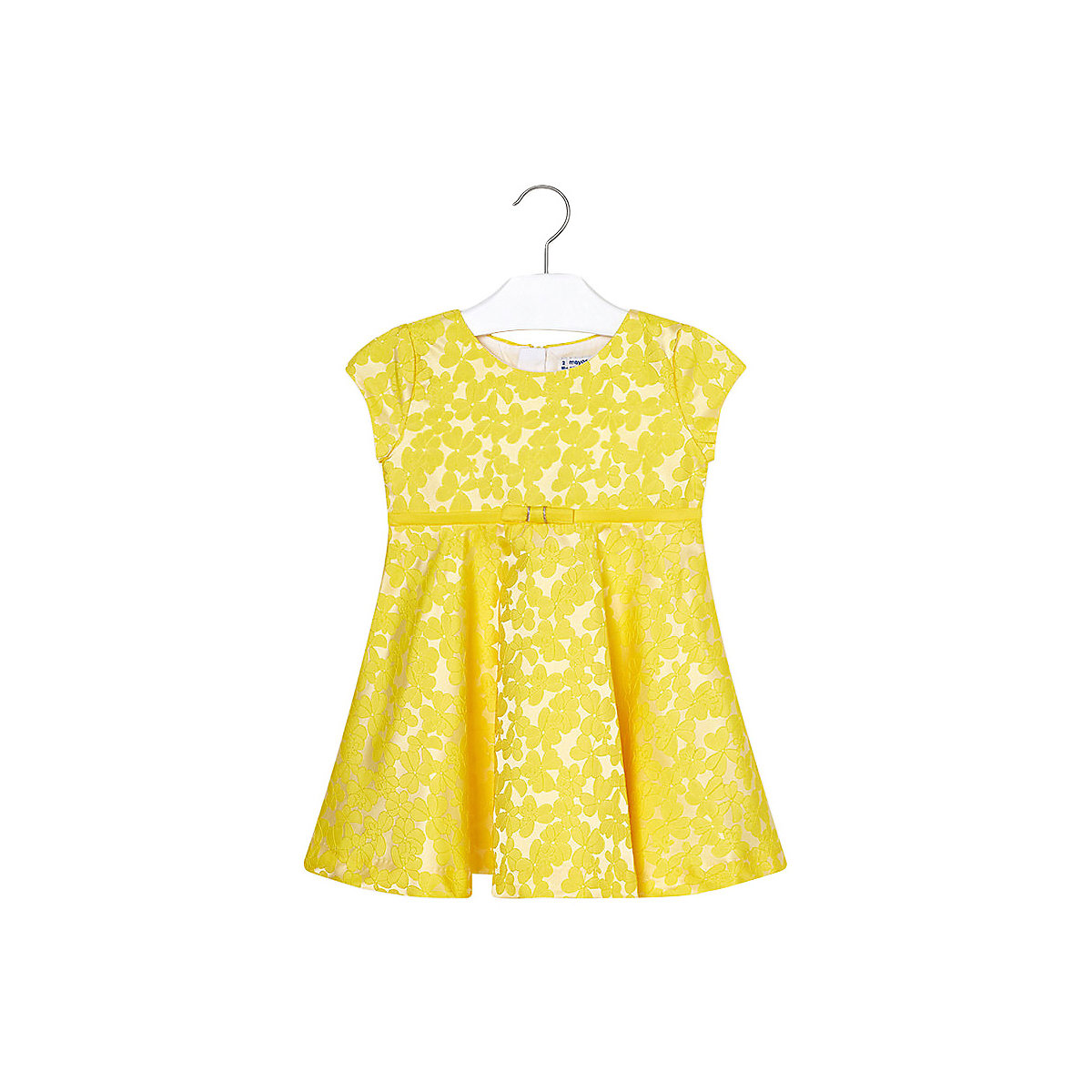 MAYORAL Dresses 10690715 Girl Children Party fitted pleated skirt Yellow Polyester Preppy Style Floral Knee-Length Short Sleeve