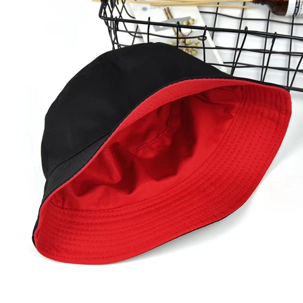 Fashion Women Solid Color Flat Cotton Reversible Fisherman Sun Hat Bucket Cap Flat Cotton Reversible Fisherman  Hat Bucket Cap