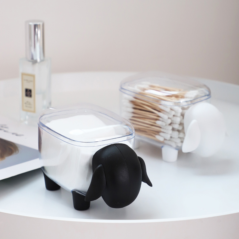 1PCS Cute Sheep Creative Mini Plastic Cotton Swab Storage Box Household Dustproof Desktop Cosmetic Finishing Box