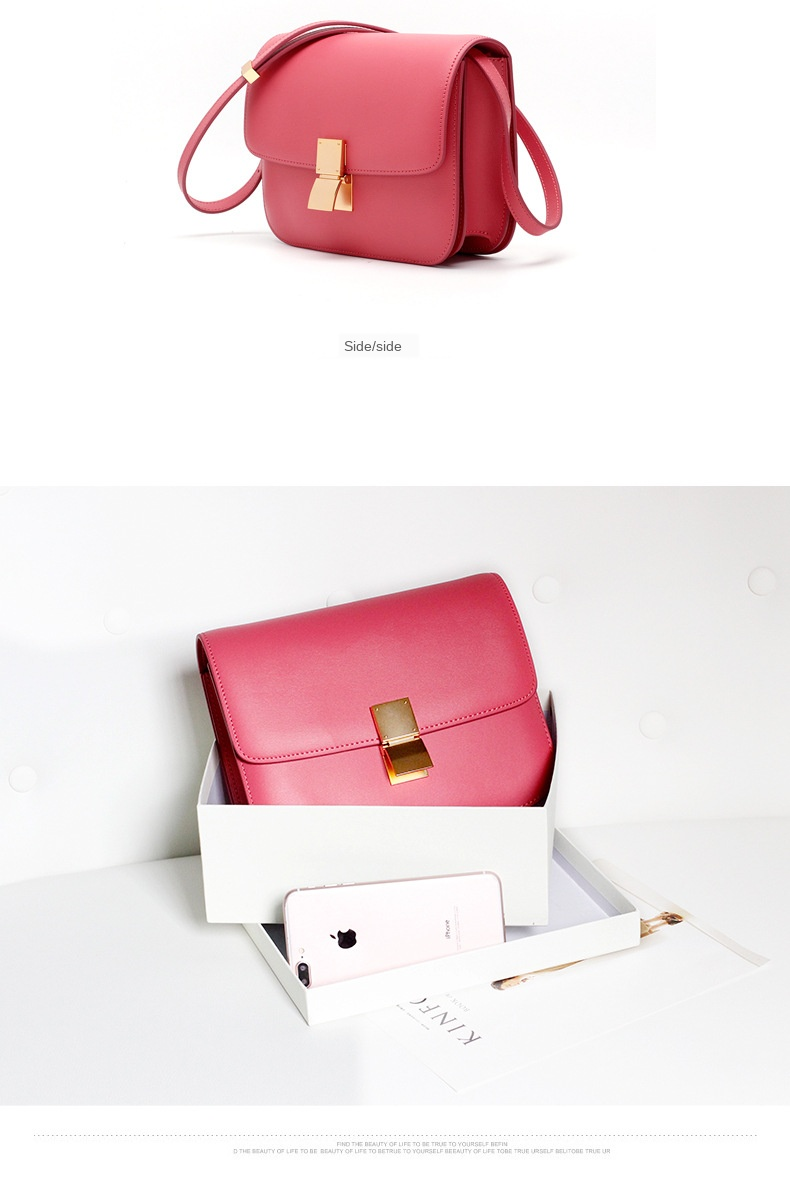 Factory Genuine Leather Women Bag Luxury Design Handbag Famous Brand Fashion Simple Pink Crossbody Tofu Bag for Women 2020 Blue