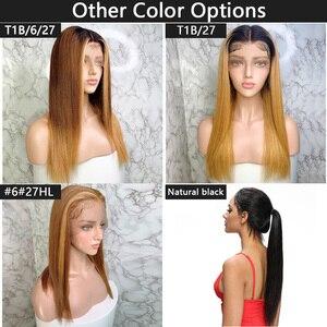 Image 4 - Newa Hair pelucas de cabello humano recto con encaje frontal, 13x6, prearrancadas con pelo de bebé, reflejos ombré, pelucas frontales de encaje Remy brasileño