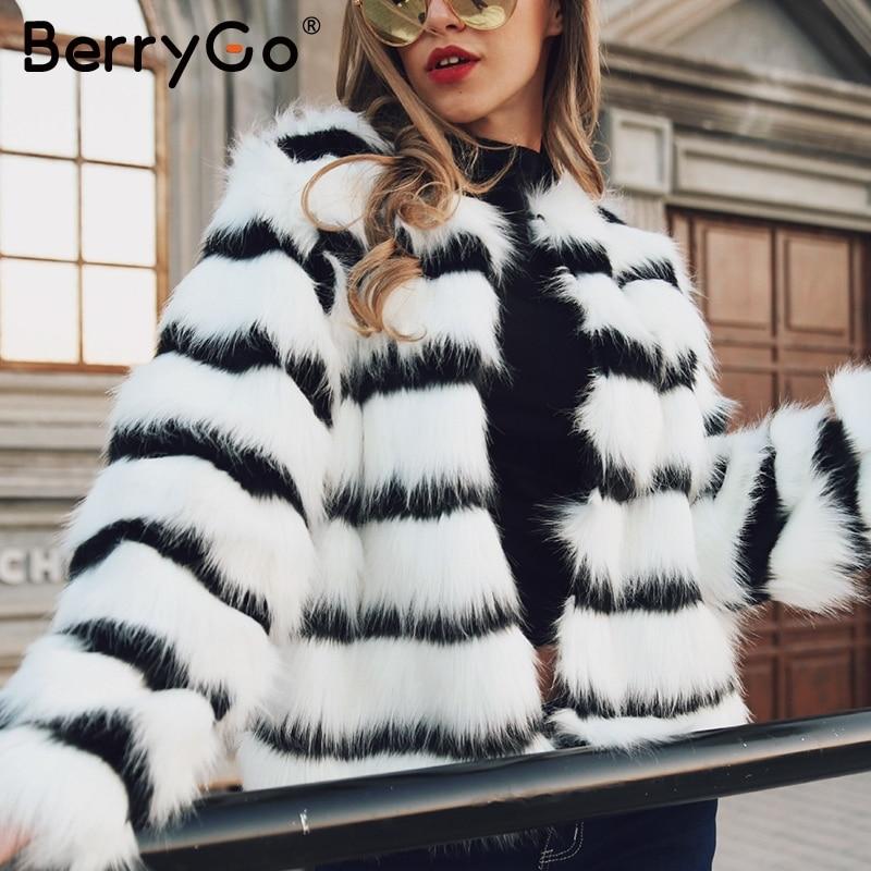 BerryGo Plus Size Women Faux Fur Coat Elegant Striped Autumn Winter Female Jackets Coats Oversize Fashion Ladies Warm Coats