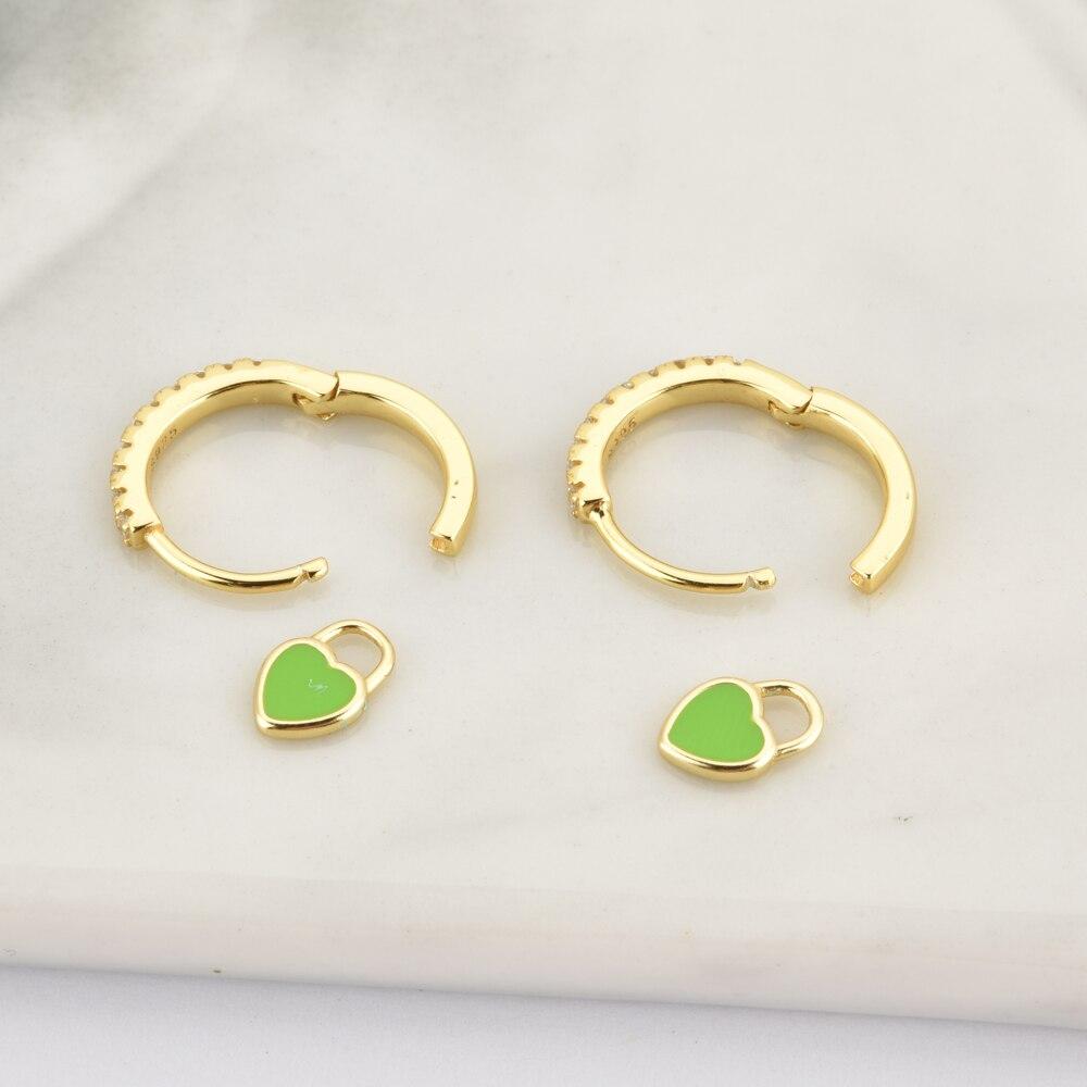 ANDYWEN 925 Sterling Silver Pink Heart Enamel Piercing Pendiente Drop Earring Ciecle Trends Zrcon CZ Crystal Fine Jewelry