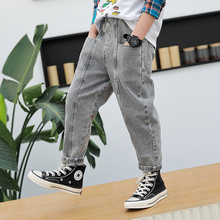 New Solid Elastic Waist Boys Jeans 0-13 Years Old Spring and Autumn Baby Kids Trousers All-match Casual Denim Pants 2 Colors
