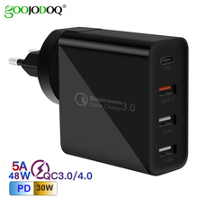 GOOJODOQ PD 48W USB type C Charger Quick Charge 3.0 Wall Fast Charger for Apple MacBook Air iPad Pro iPhone Samsung Huawei HTC