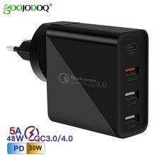 Goojodoq pd 48 w usb tipo c carregador de carga rápida 3.0 parede carregador rápido para apple macbook ar ipad pro iphone samsung huawei htc
