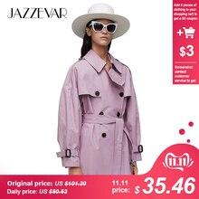 Jazzevar2019 nova chegada outono topo roxo trench coat feminino à prova ddouble água de algodão duplo breasted curto moda roupas femininas 9010