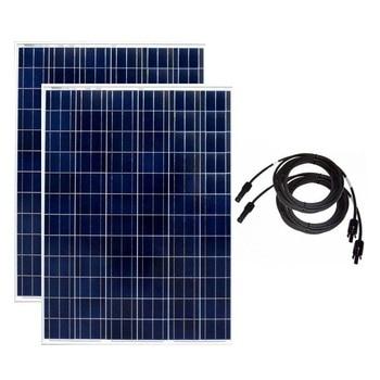 Solar Panel 200w  24v 2 Pcs Sun Panels 400w PV Cable 10M Solar Battery Off Grid System RV Motorhomes Caravan Car Camp Boat Yacht