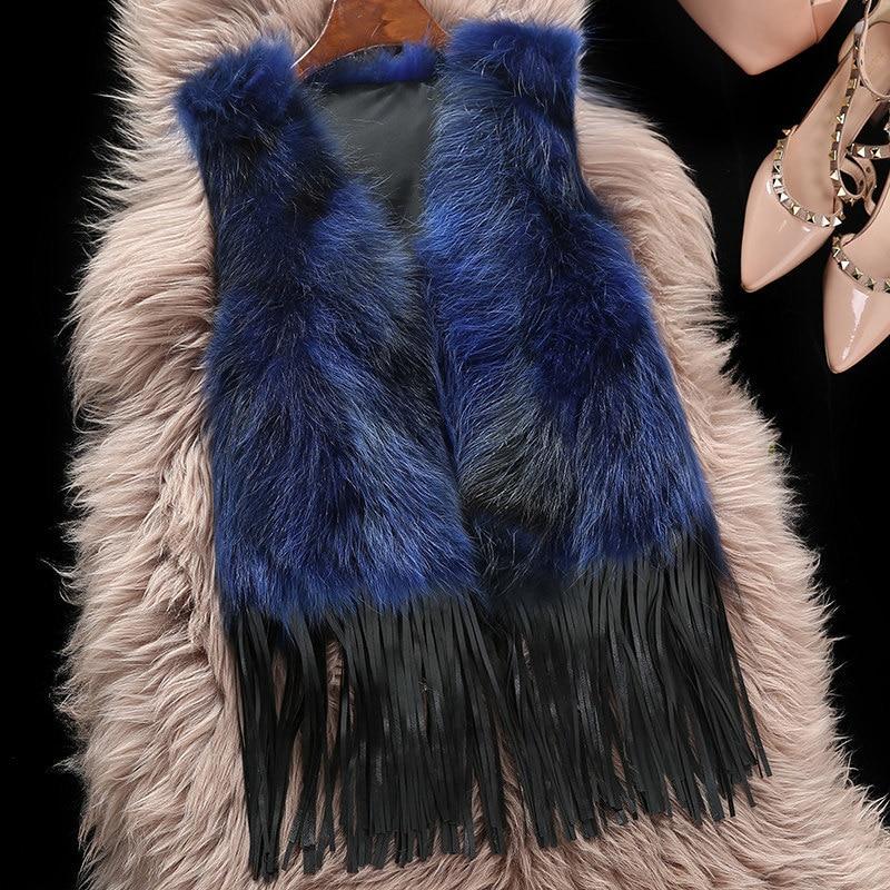 Raccoon Natural New Fur Vest 2020 Fashion Tassel Short Waistcoat For Women Winter Genuine Real Fur Coat Female WYQ1545