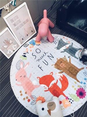 Tapis bébé enfants Gym tapis de jeu ramper couverture multifonctionnel sac de rangement décoration jeu rond 150CM tapis de jeu enfants Pad