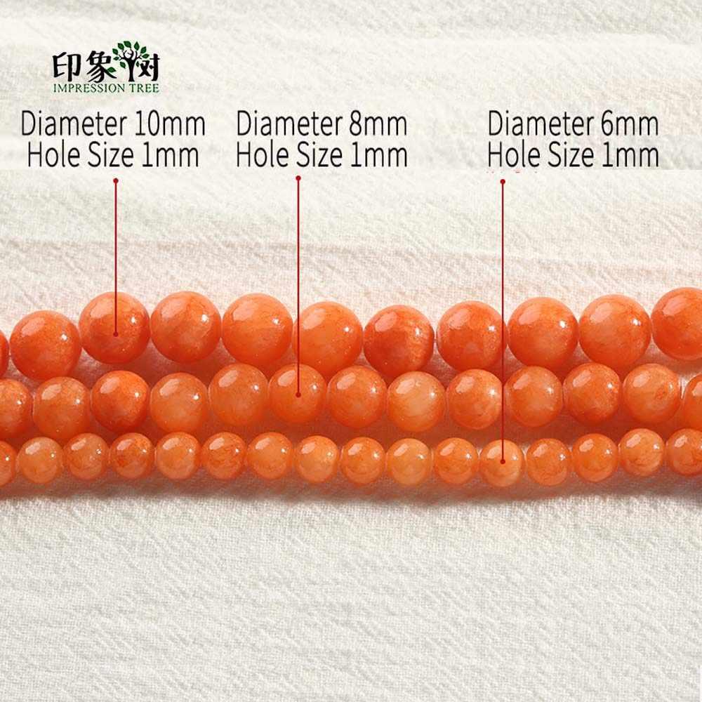 1 pc suave laranja redonda jades contas queimado laranja solto pedra grânulo 6/8/10mm ajuste colar fazendo para diy jóias fazendo 1884