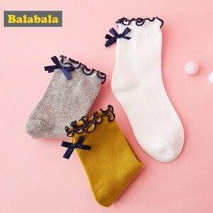 Image 4 - Детские носки Balabala, Осенние тонкие хлопковые носки для малышей, милые дышащие хлопковые носки для девочек, три пары