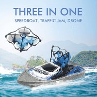3 In 1 RC Drone Quadcopter/Vehicle/Hovercraft Boat Drone 360 degrees Flip Traffic Jam Drone Helicopter Water Racing Boat Drone
