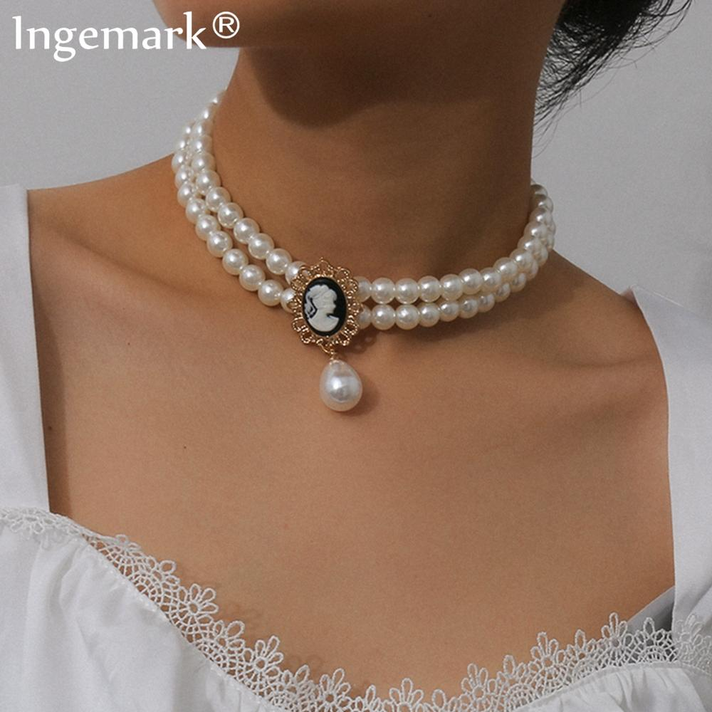 Elegante Multi Schicht Nachahmung Perle Choker Halskette Frauen Collares Punk Schwarz Kristall Perle Quaste Anhänger Halskette Partei Schmuck