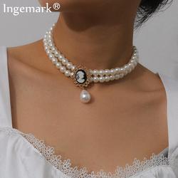Elegant Multi Layer Imitation Pearl Choker Necklace Women Collares Punk Black Crystal Bead Tassel Pendant Necklace Party Jewelry