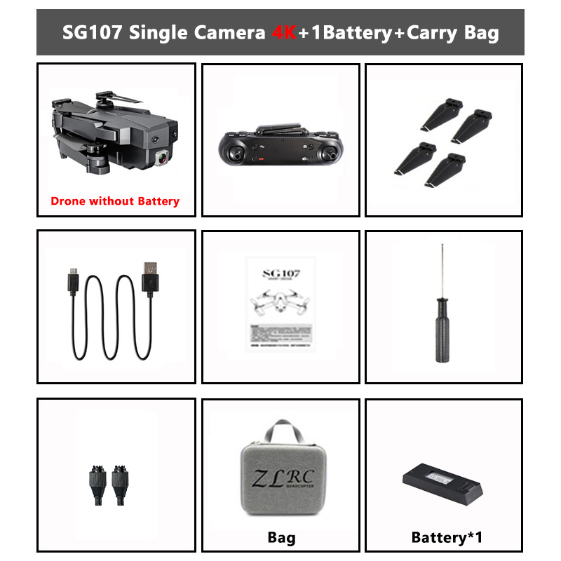 SG107 Mini Drone 4K FPV wifi camera drone Altitude Hold Folding RC Quadcopter Modular battery Gesture control dron VS E58 E68