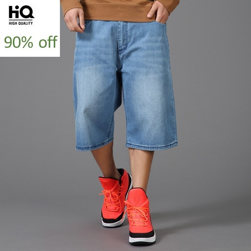 2020 New Plus Size 30-46 Mens Cargo Denim Shorts Blue Loose Fit Streetwear Baggy Straight Jean Shorts For Male Calf-Length Pants