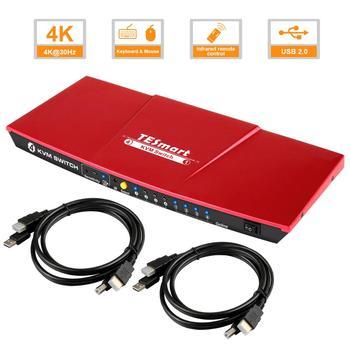 HDMI KVM Switch  4 Port USB2.0  KVM HDMI Switch 4K60Hz High Quality Tesla smart USB Support 3840*2160/4K*2K Extra USB2.0 Port d lin k dkvm 4k 4 port kvm