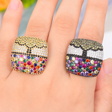 SISCATHY 2019 Vintage Geometric Square Wide Multicolor Cubic Zirconia Rings for Women Fashion Jewelry Bridal Wedding