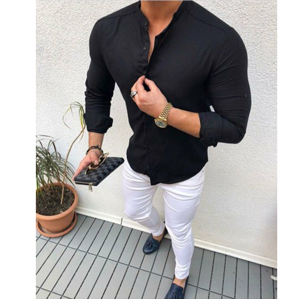 2020 NEW Men Shirt Brand  Male High Quality Long Sleeve Shirts Casual Hit Blouse Slim Fit Black Man Dress Shirts