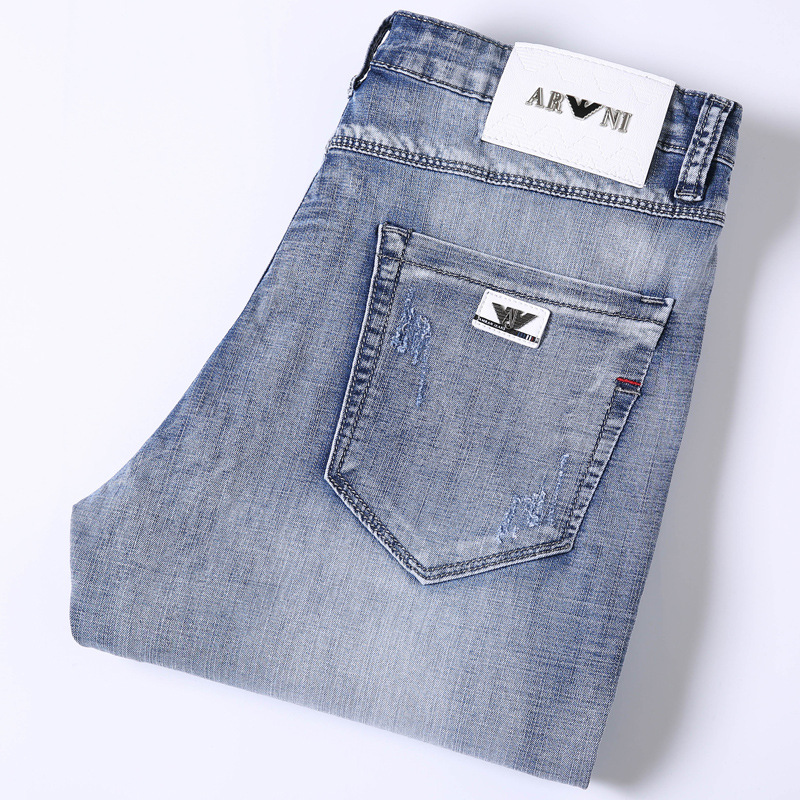 AJ Autumn Korean-style Skinny Slim Fit Elasticity MEN'S Jeans Light Color Teenager Elasticity Brand Pants Men'S Wear
