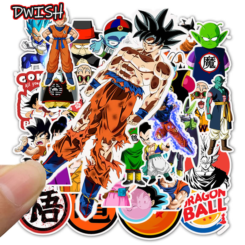 50pcs/Pack Anime DRAGON BALL Cartoon Children Stickers Skateboard Guitar Suitcase Motorcycle Graffiti Sticker Kids Classic Toy