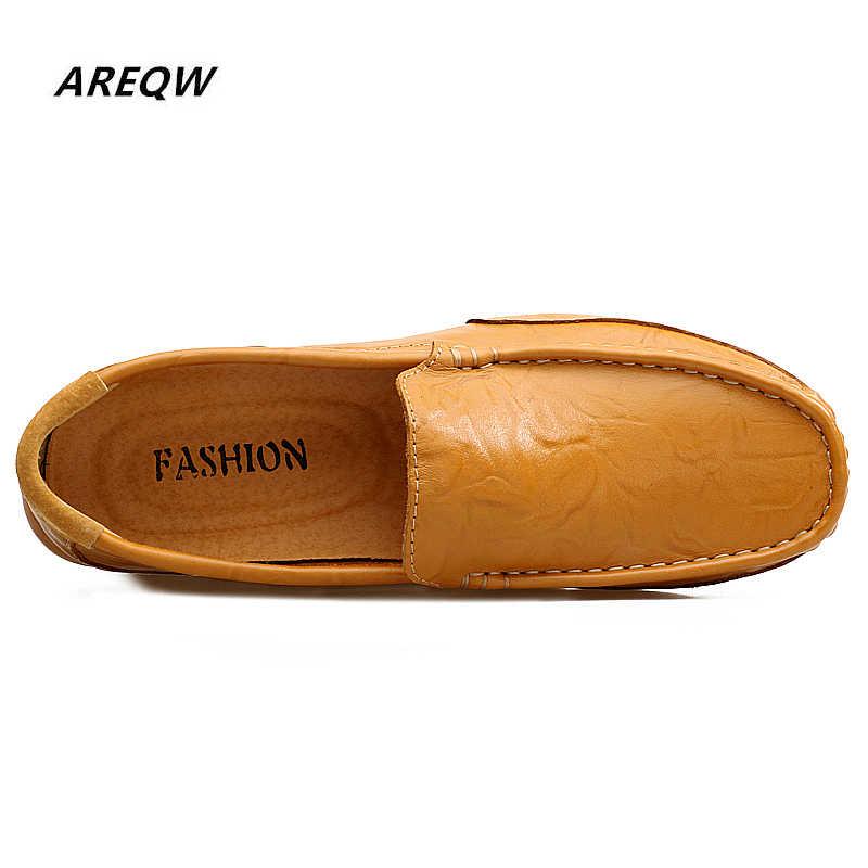 AREQW ผู้ชายรองเท้าหนังผู้ชายน้ำหนักเบารองเท้าสบายฤดูใบไม้ผลิฤดูใบไม้ร่วงแฟชั่น Breathable ชายรองเท้า