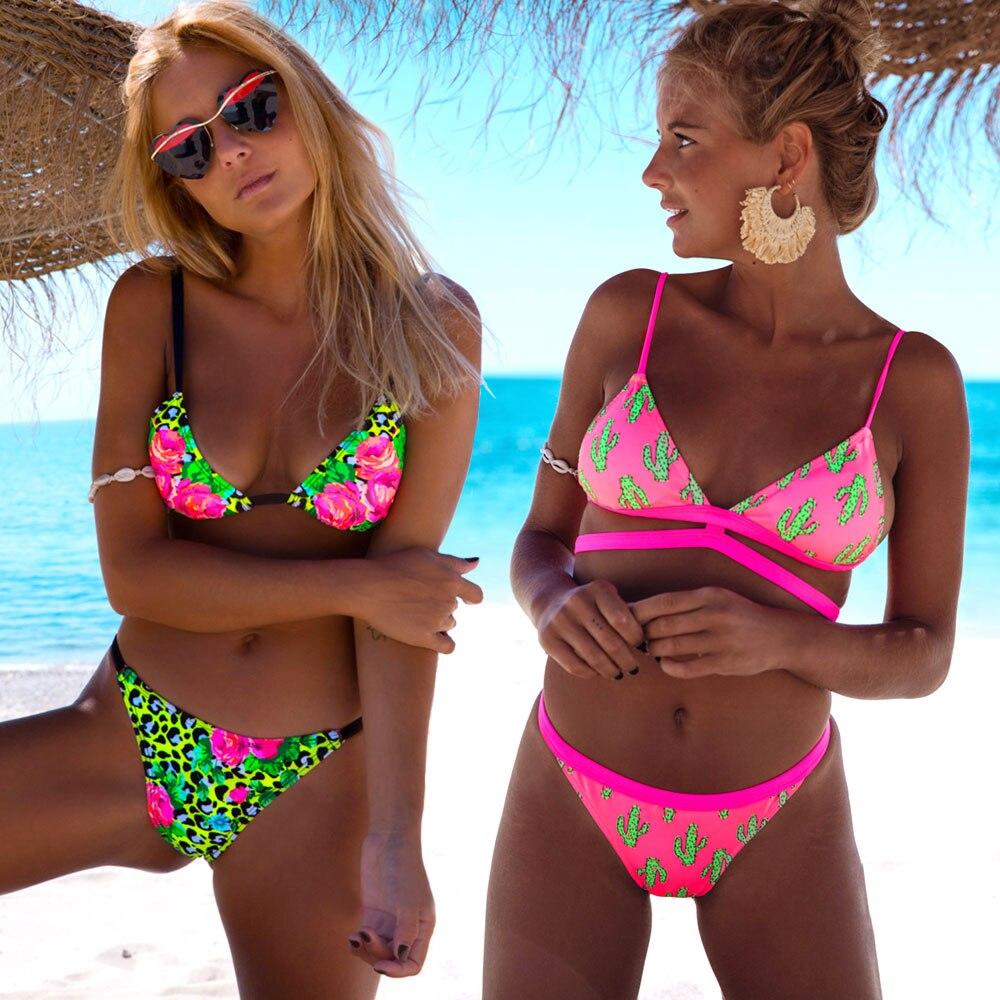 Sexy Print Bikinis 2019 Women Swimsuit Ruffled Swimwear Female Halter Bathing Suit Beach Wear Brazilian Maillot De Bain Biquinis 1
