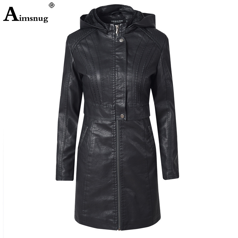 PU Leather Coat Jacket Women Fashion Slim Patchwork Long Female Jacket Zipper Motorcycle Tunic Outerwear Autumn Winter Outerwear