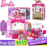 Original Brand Barbie Shiny Holiday Home Doll House Furniture Miniatures Dollhouse Kit Cute Room Baby Girl Toys Boneca For Girl