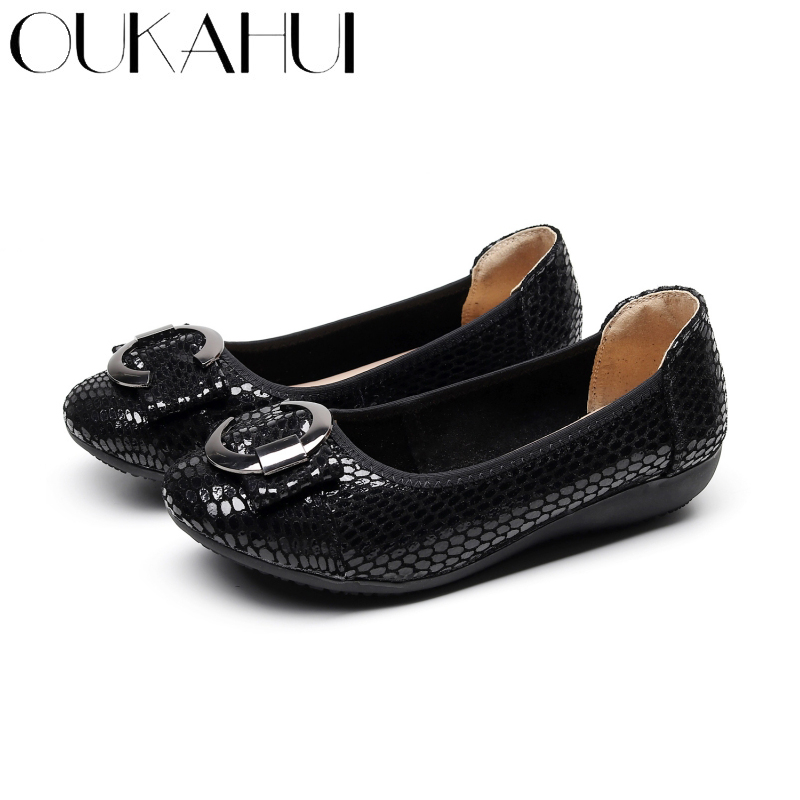 OUKAHUI Fashion Snakeskin Pattern Genuine Leather Ballet Flats Women Shoes Slip-On Round Toe Metal Round Buckle Flat Shoes Women